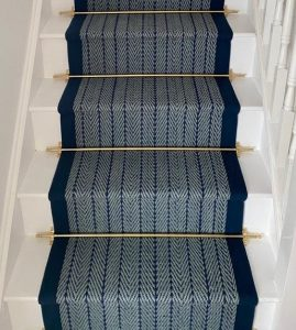 Herringbone Navy, Border Navy , Brass stair rods (2)