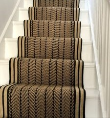 Herringbone Twill striped border monthly clearance stair runner sale
