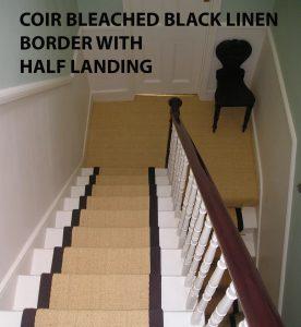stair carpet runner fully fitted in half landing