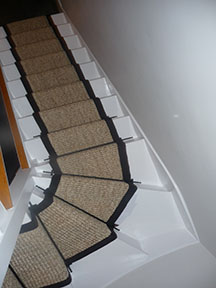 stair carpet runner in winding and straight stairs