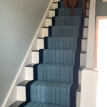 Herringbone Blue with navy border & guard dog!