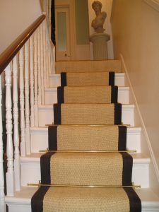 STAIR RUNNER IDEAS USING COIR BLEACHED WITH BLACK BORDER