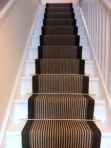 stair runner fitting advice using jute brown with stripe brown border