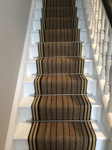 Stair Runner Fitting Using Herringbone Twill And Stair Rods
