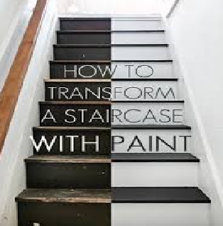 Transform ugly stairs with this inexpensive paint job . Nice before and after!
