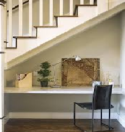 Under stairs desk . Simple , useful and stylish!
