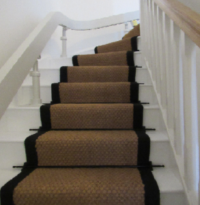Coir panama natural stair runner black border 65cm wide